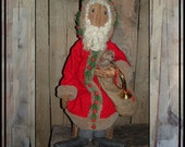 Tall Primitive Folk Art rag doll Santa pine bead berries HAFAIR OFG