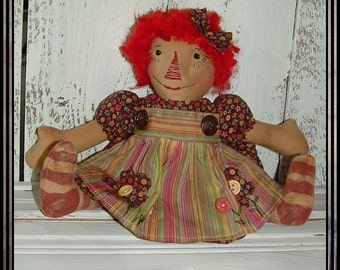 Primitive hand embroidered raggedy red wool hair HAFAIR appliqued apron OFG HAGUILD