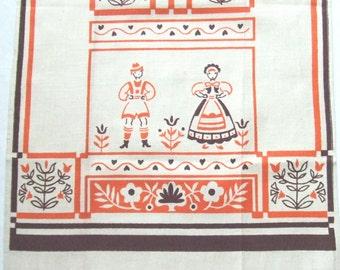 Linen Towel Orange and Brown Print Alpine Folk Art