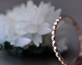 14k Rose gold beaded band