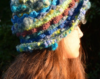 "Freeform crochet hat "" Seabed """