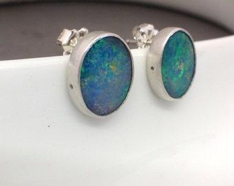 Opal and Sterling Stud Earrings