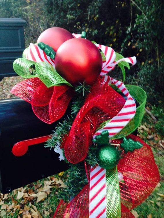 Custom christmas holiday mailbox swag outdoor decor deco mesh for Deco christmas decorations