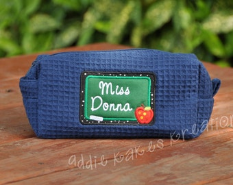 Personalized Waffle Cosmetic / Accessory Bag with Chalkboard Design