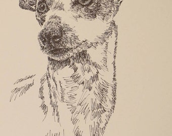 Italian Greyhound dog art portrait drawing from words. Your dog's name added into art FREE. Great gift. Signed Kline 11X17 Lithograph 57/500