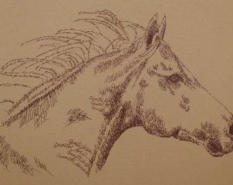American Quarter Horse - Artist Kline animal art using only words. Artist adds your horse's name free. Signed and numbered 30/500