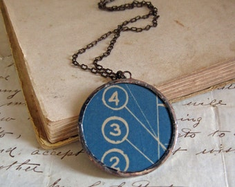 Vintage Industrial Blueprint 1935 Necklace Glass Upcycled Jewelry