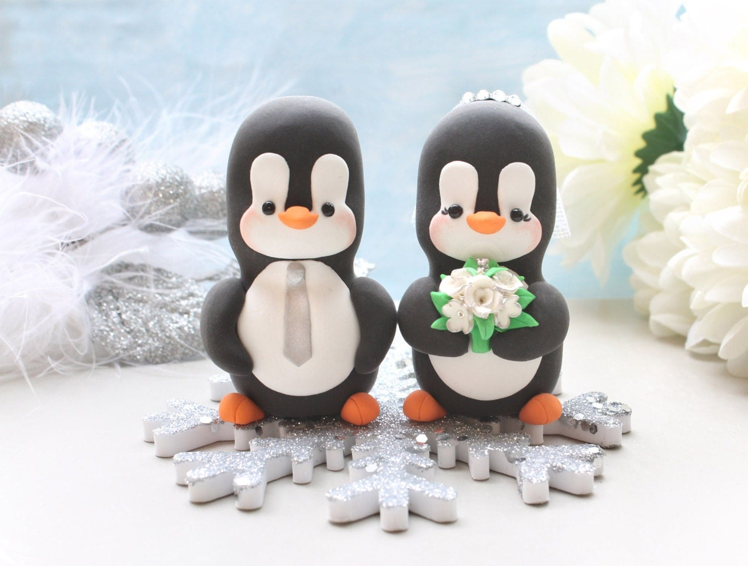 Penguins wedding cake topper winter wedding with by