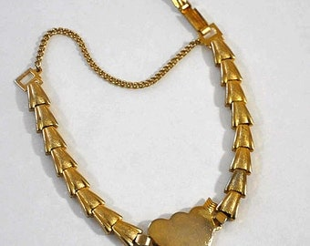 1950s Gold Plated Double Heart Sweetheart Deco Inspired Vintage Bracelet