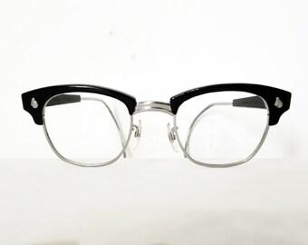 Vintage Black AO Clubmaster-Style Frames, Combination Metal Eyeglasses or Sunglasses, Mad Men/ UNISEX sale