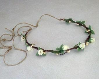Woodland Flower Crown spring bridal Hair Wreath ivory Brown Twine tie boho wedding accessories -Ingenue- Pip Berries summer party