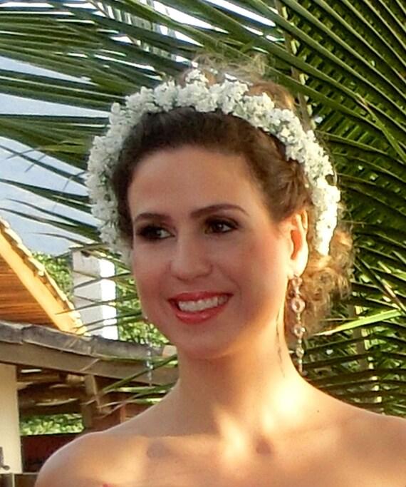 White Wedding Day hair accessories Flower Crown by AmoreBride Babys Breath halo Bridal party headpiece artificial wreath garland flower girl
