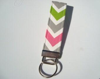 Wristlet Key Fob / Key Chain -Chartreuse Candy Pink Chevron Zig Zag