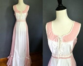 RESERVED for Augie /  1970's Pink Gingham Maxi Dress / Corset Front Sundress / size medium