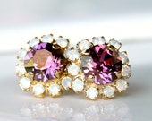 Gold and Lilac Shadow Swarovski Crystals Framed with White Opal Halo Crystals on Gold Stud Earrings