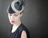 SALE - Ombre Grey/Green Felt Fascinator with Parrot Feathes Leather and White Chain - Fall Fashion - Arthopod Series