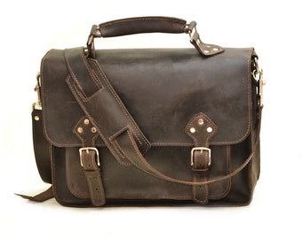 Distressed Brown Leather Briefcase Messenger Carry-All Shoulder Bag Murse