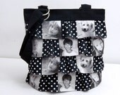 Photo Picture Bag Purse Ruffle Custom Gift 5 Photos Black and White choice of fabric
