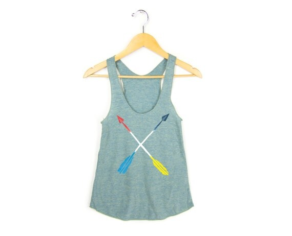 Painted Arrows - Racerback Hand Stenciled Slouchy Scoop Neck Swing Tank Top in Green and Primary Colors - Women's XS S M L Q