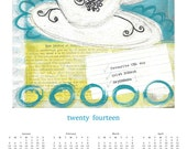 """2014 Year at a Glance Calendar --- TEA CUP """"To Do List""""  - 100 % Recycled Paper"""
