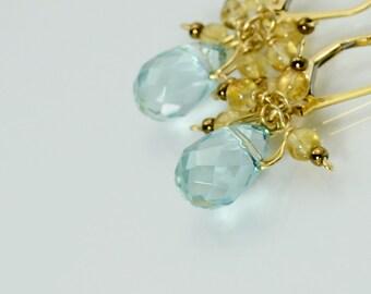 Peace - Earrings in blue topaz, citrine, 14kt gold-filled