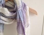 Cream Beige Purple Lilac Stripe Shawl Neckwarmer Fabric Scarf Shawl
