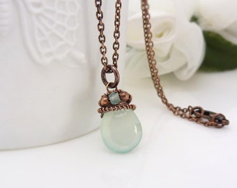 Aqua chalcedony necklace, wire wrapped solid copper gemstone briolette teardrop necklace, small pastel blue green pendant