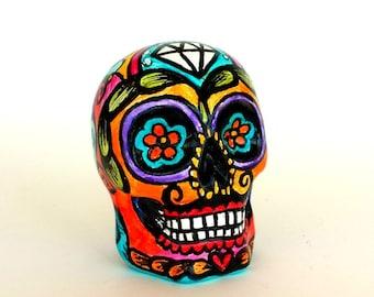 Ceramic Sugar Skull Mustache Day of the Dead Tattoo folk art Painted sculpture dia de los muertos pink orange yellow purple - MADE TO ORDER