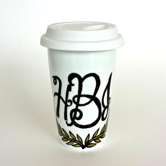 Hand Painted Ceramic Travel Mugs