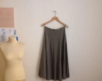 Vintage High Waisted Skirt Olive Green Midi ALine Full M Medium