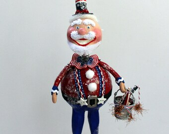 Folk Art Americana Uncle Sam Patriotic Art Doll Collectible