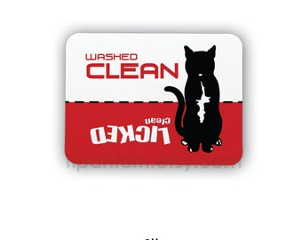 Clean Dirty Dishwasher Magnet, Cat Design - Washed Clean, Licked Clean - Clean Dirty Sign for dishwasher, Black and White Tuxedo Kitty Cat