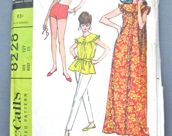 McCall's 8228 from the 60s Bathing Suit, Long Pants, Robe Sewing Pattern     Bust 32 inches