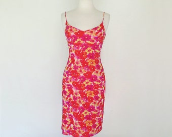 GUESS // pink and orange floral 90s spaghetti strap dress S / M