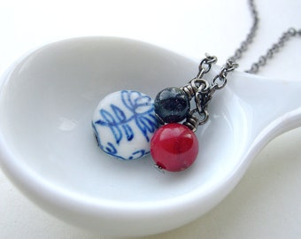 Cluster Necklace with Porcelain Bead Blue Goldstone and Red Coral  -  Berry Tea