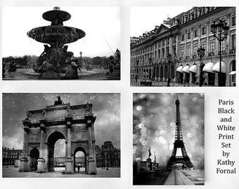 Paris Photography, Black and White Photography, Set of 4 Paris Black White Prints, Paris Travel Photography Print Set, Paris Black White Art