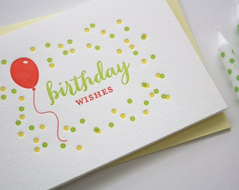 Letterpress Birthday Card - Balloon Wishes Birthday Card