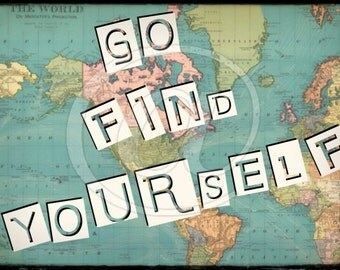 Happy Camper Go Find Yourself World Map Postcard 4x6 Digital Collage Sheet image transfer greeting cards printable - U Print