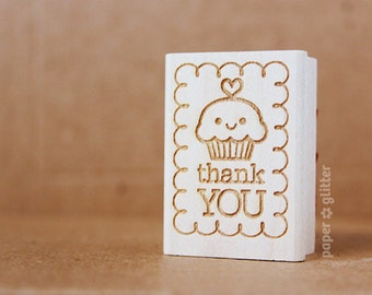 Thank You Cupcake Rubber Stamp