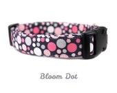 Girly Pink Polka Dot Dog Collar - Adjustable, Made to Order