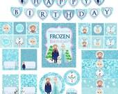 Frozen Party, Frozen Party Package, Frozen Birthday, Blue Frozen, Frozen Party Kit, Frozen Printable, Snow Princess Party, INSTANT DOWNLOAD