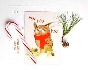 Holiday Card, Office Card, Hoo hoo hoo - Owl Christmas postcards (set of 10)