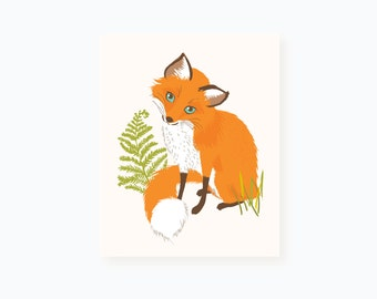 fox wall art - woodland art for kids - nursery wall decor for children
