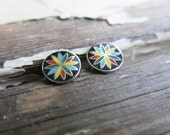 For ISABELLE- one stud earrings, vintage enamel, handmade dutch hex symbols. rainbows