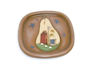 SALE | Handpainted Wood Tray, Prim Pear with Americana Scene