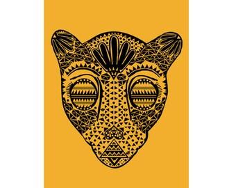 Black and Gold Jaguar Head - PRINT - 8 x 10