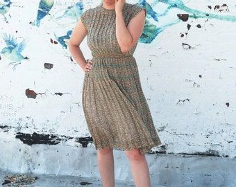 Vintage 1940s Gold and Turquoise Day Dress Autumn Pleated Fancy Novelty Print Forties Earth Tone Dress for the Girl Who Knows Clothes M/L