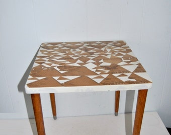 Upcycled Small Side Table Vintage Antique Design Rustic Cottage Chic Geometric Triangles Decoupage