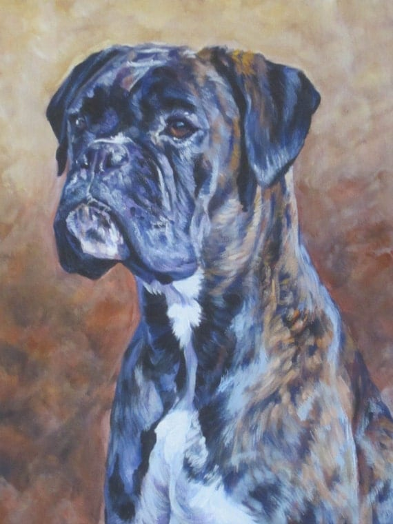 Brindle boxer dog art canvas print of la shepard painting 8x10 for Dog painting artist