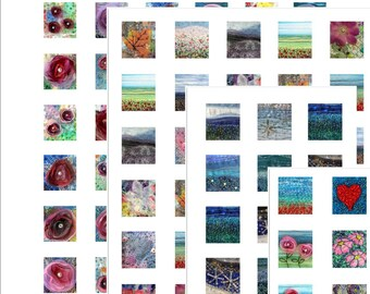 """0.75"""" x 0.83"""" tiles -  digital collage sheets - set of 4 - instant download - fabric art"""